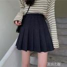 百褶裙女 新款韓版高腰顯瘦減齡毛呢A字百褶裙純色半身裙女裝裙子 快速出貨
