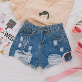 MUMU【P32602】字母刺繡刷破牛仔短褲。兩色(不含腰帶)
