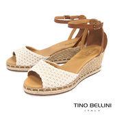 Tino Bellini 巴西進口棉麻編織繫踝楔型魚口涼鞋_ 米白 B73209A 歐洲進口款