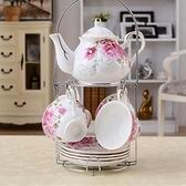 下午茶茶具組合含咖啡杯+茶壺-6人美觀時尚歐式骨瓷茶具8色69g38[時尚巴黎]