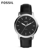 FOSSIL The Minima 極致低調 墨黑時尚經典皮革手錶 男 FS5398