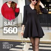 SISI【D8137】現貨甜美優雅V領撞色滾邊高腰修身收腰傘狀裙襬顯瘦中長款連身裙洋裝