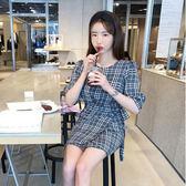 鬼馬少女系甜美圍裙式撞色格子短袖連身裙短裙6067#ZL-7F-705-D朵維思