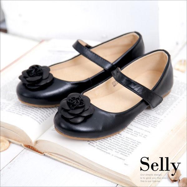 Selly * 沙粒 * 童鞋‧浪漫甜心‧經典山茶花‧柔軟彎折牛皮娃娃鞋 *使壞黑