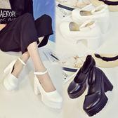 大尺碼涼鞋黑白色交叉綁帶公主學院粗高跟扣帶cos演出大碼鞋 mc8183『東京衣社』