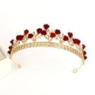 兒童髮箍 皇冠頭飾兒童紅色禮服配飾發箍仙女演出花童王冠生日禮物女童發飾 韓菲兒