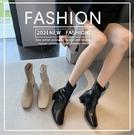 【7089】春季新款 英倫風馬丁鞋 高跟短靴 方頭馬丁靴(三色可選)