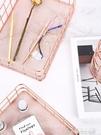 簡約ins北歐風金屬筆筒置物架鐵藝玫瑰金筆筒辦公室桌面擺件化妝品收納筐款雜 夢想生活家