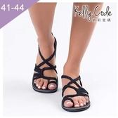 大尺碼女鞋-凱莉密碼-歐美流行繩結編織防水透氣平底涼鞋3cm(41-44)【SR555】黑色