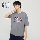 Gap男女同款 Logo純棉圓領短袖T恤 688537-灰色