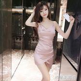 夜店女裝性感新款V領低胸露背鏤空修身顯瘦包臀不規則吊帶洋裝 米蘭潮鞋館
