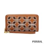 FOSSIL LOGAN 織線花紋含手帶拉鍊式長夾-棕色 SL6323058