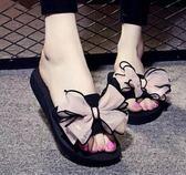 拖鞋蝴蝶結坡跟拖鞋防滑厚底室內拖鞋