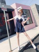 連身裙假兩件洋裝女夏新款韓版小個子心機設計感清新條紋短袖裙子 海角七號