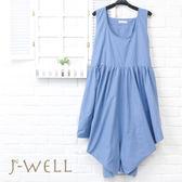 洋裝 素色無袖腰繫帶洋裝 8P8092 現貨 J-WELL