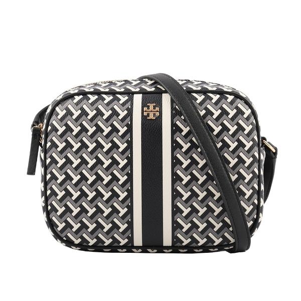 【TORY BURCH】PVC皮革條紋拼幾何圖案相機包(黑色) 64280 BLACK