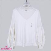 【SHOWCASE】氣質薄紗高領V型澎澎造型長袖T恤(白)