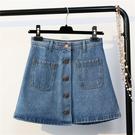 +C1252  夏季高腰拼接牛仔短裙前排...