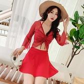 泳衣女2020新款超仙韓國ins分體三件套比基尼顯瘦性感游泳衣 草莓妞妞