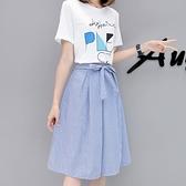 兩件套裝裙子夏季新款女潮學生韓版中長款連身裙學院風小清新 交換禮物
