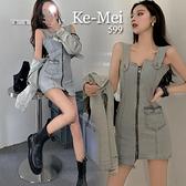 克妹Ke-Mei【ZT70116】KOREA韓國東大片不規則前後拉鍊牛仔洋裝