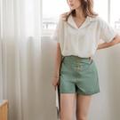 《BA4957-》高含棉高腰排釦反褶短褲...