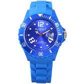 BAKLY 彩艷亮麗人生日期時尚腕錶(藍)