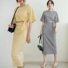 現貨-MIUSTAR 兩件式!側綁結格子上衣+後衩中長裙(共2色)【NJ1070】