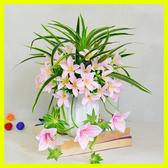 仿真花玫瑰花百合陶瓷花瓶套裝假玫瑰花束客廳絹花假花裝飾花擺件