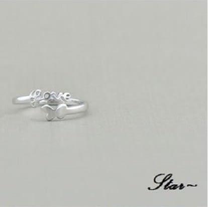 Star 銀色系列 -銀飾LOVE設計指環(S925)-A8