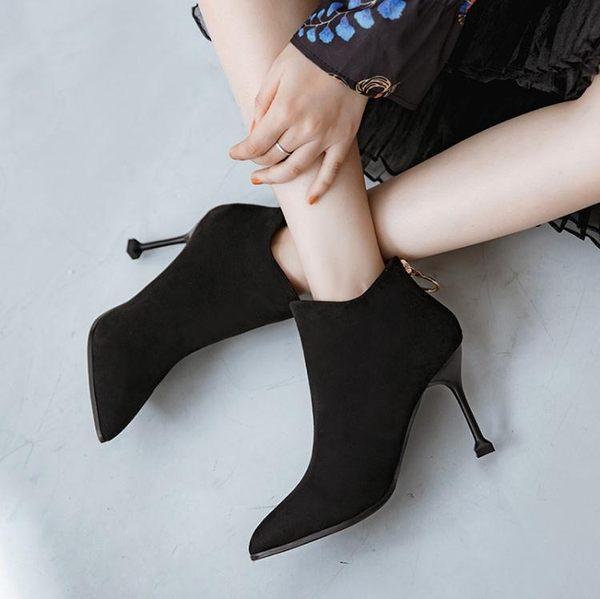 女短靴 馬丁靴 新款秋冬尖頭細跟性感短筒女踝靴高跟單靴高跟靴子《小師妹》sm2381