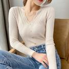 蕾絲打底衫 2021年秋季新款針織衫女長袖洋氣修身V領蕾絲內搭毛衣打底上衣女 韓國時尚週