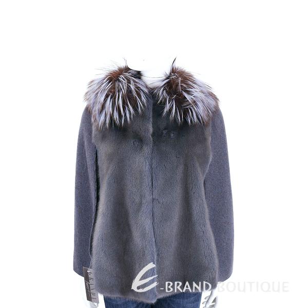 GRANDI furs 灰藍色拼接斗篷皮草外套(70%WOOL) 1710172-85