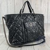 BRAND楓月 CHANEL 香奈兒 黑色 皮革 銀鍊 銀釦 兩用包 手提包 側背包 斜背包 大容量