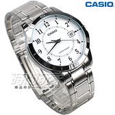 CASIO卡西歐 MTP-V004D-7B 都會數字錶 男錶 不鏽鋼錶帶 白色 指針錶 防水手錶 石英錶 MTP-V004D-7BUDF