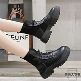 單靴短靴中筒馬丁靴英倫風潮加絨春秋厚底女鞋【時尚大衣櫥】
