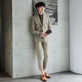 男 素面/成套西裝 L AME CHIC 細格紋雙排扣修身兩件組成套西裝-杏【LC077】