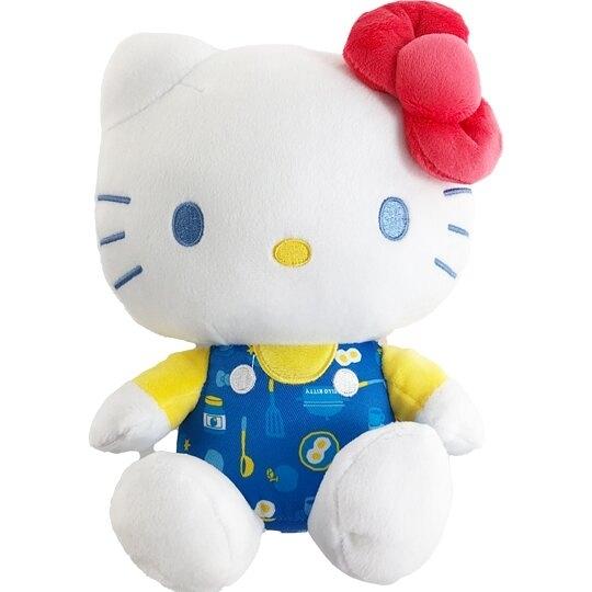 小禮堂 Hello Kitty 8吋絨毛玩偶 絨毛娃娃 小型玩偶 布偶 (藍黃吊帶褲) 4901610-17862