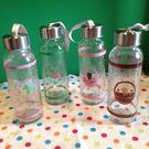 【發現。好貨】韓國卡通小木馬 熊熊透明運動款密封蓋玻璃杯攜帶玻璃水壺帶拎繩 300ml