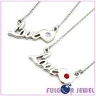 【Fulgor Jewel】316不鏽鋼飾品 LOVE字母愛心 施華洛水鑽 項鍊