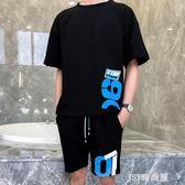 短袖t恤男士網紅寬鬆體恤丅恤男裝一套潮男搭配帥氣夏季套裝潮流    JSY時尚屋