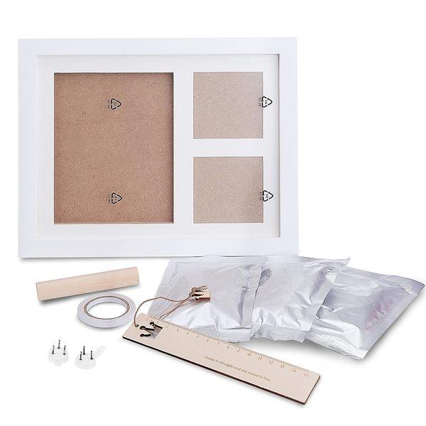 日本TEPSMIGO寶寶手印腳印 成長紀念拓印模型相框禮盒 彌月禮 周歲禮 直式【小福部屋】