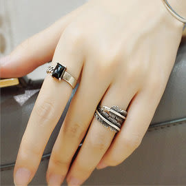 Qmigirl 新款韓版 戒指黑瑪瑙鏈條不規則不對稱復古開口情侶戒禮物【QG2015】