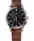 AEROWATCH Grace優雅風範三眼計時腕錶-黑x咖啡色錶帶/42mm A83966AA01