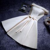 大碼伴娘服短款新款粉色姐妹裙晚禮服綁帶顯瘦韓版伴娘團洋裝女 DN15784【旅行者】