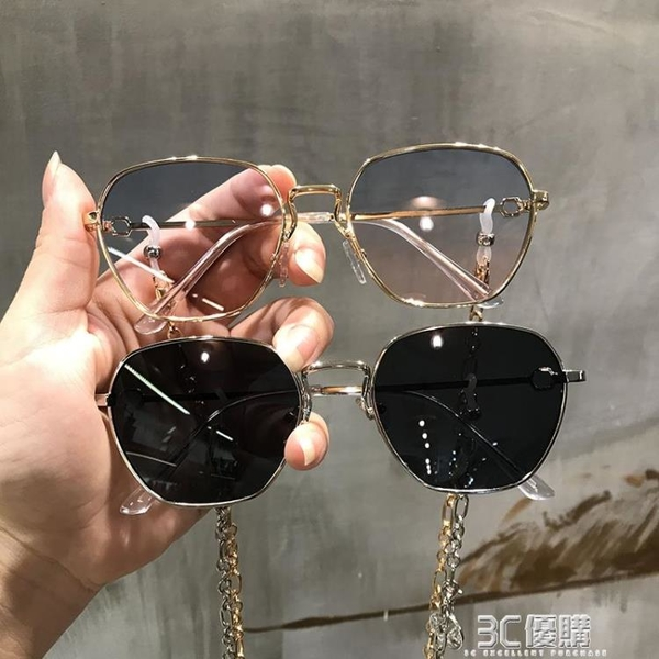韓版潮ins超火的眼鏡復古方框多邊形網紅太陽鏡女帶鏈條炫酷墨鏡 3C優購