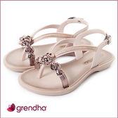 GRENDHA 晶鑽玫瑰平底涼鞋-女童-玫瑰金