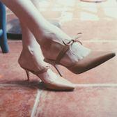 優雅蝴蝶結尖頭細跟高跟女涼鞋氣質包頭復古中跟涼拖鞋【週年店慶好康八五折】