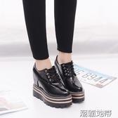 隱形內增高女鞋10cm厚底春夏季新款顯瘦百搭超高跟系帶單鞋黑色