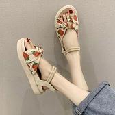 草莓涼鞋平跟女夏季仙女風厚底學生百搭沙灘羅馬涼鞋潮-Milano米蘭